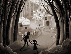 Hansel and Gretel using breadcrumbs to find their way home