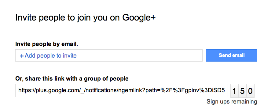 Google+ Invitation Link