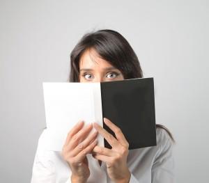 Portrait of shy woman