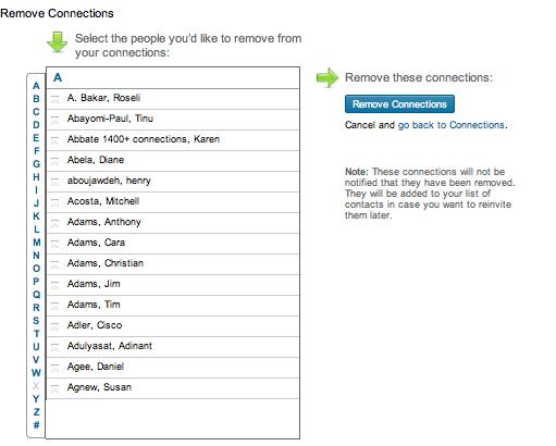 How do I delete a LinkedIn contact?
