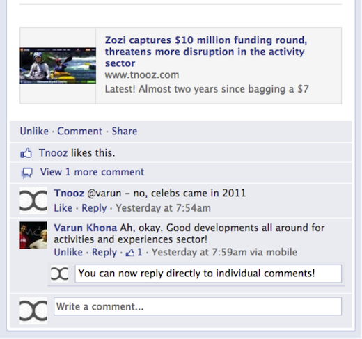 what is facebook reply button