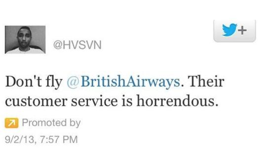 british airways promoted tweet