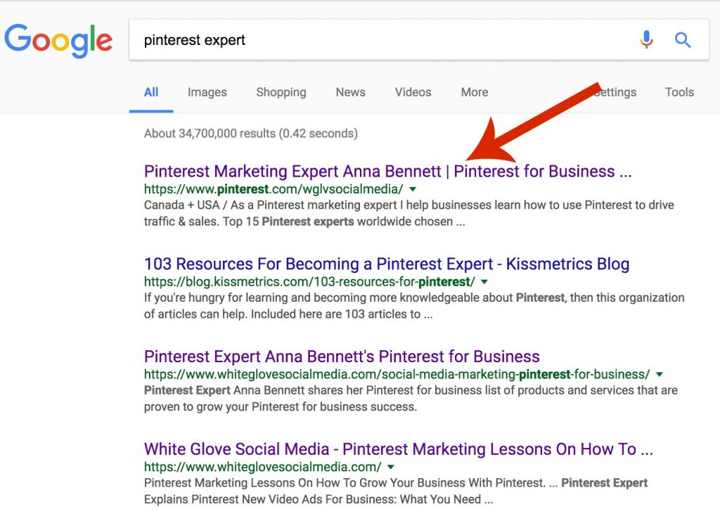 Pinterest-expert-first-page-on-Google