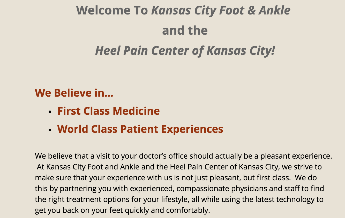 Welcome page, KC Foot & Ankle